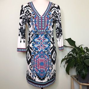 Hale Bob Beaded Ikat 3/4 Sleeve Dress XS